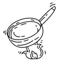 wandelen avontuur pan, reis, reizen, kamperen. hand getekend pictogram ontwerp, overzicht zwart, doodle pictogram, vector