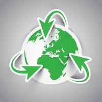 Het symbool van de aarde recycleren