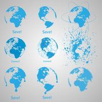 Een set blauwe aarde vector