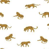 Naadloos exotisch patroon met abstracte silhouetten van luipaarden. vector