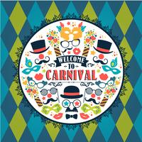 Viering feestelijke illustratie met carnaval pictogrammen en objecten vector