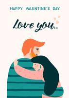 Romantische illustratie met mensen. Vector ontwerpconcept voor Valentijnsdag en andere gebruikers.