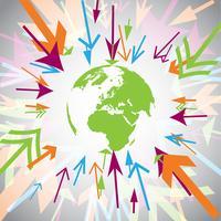 Aarde met kleurrijke pijlen