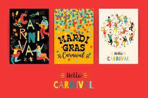 Hallo carnaval. Vector sjablonen voor Mardi Gras-concept en andere gebruikers