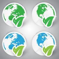 Een set eco-papier aarde vector