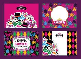 Viering feestelijke achtergrond met carnaval pictogrammen en objecten. vector