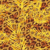 Naadloos exotisch patroon met palmbladen en silhouetten van dieren