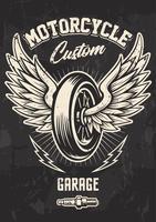 Vintage bikerontwerp met gevleugeld wiel