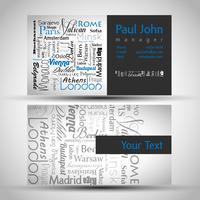 Visitekaartje voor en achter met Europese hoofdsteden
