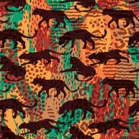 Naadloos exotisch patroon met abstracte silhouetten van dieren. vector