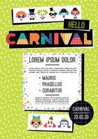 Carnaval-sjabloon in de stijl van Memphis vector