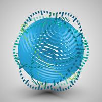 Blauwe 3D bol met ringen vector
