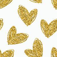 Vector naadloze patroon met hand getrokken glitter harten.