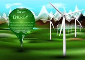 Windenergieinstallaties met speld vector
