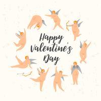 Vector set van schattige cupido's. Gelukkig Valentijnsdag concept.