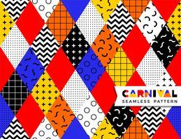 Carnaval naadloos patroon in de stijl van Memphis. vector