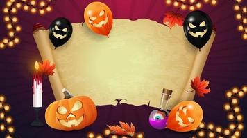 halloween-sjabloon voor uw creativiteit met oud perkament. halloween ballonnen, pompoenen, herfstbladeren en slinger. vector