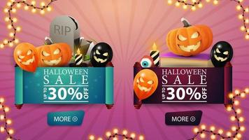 twee korting halloween bvnner in de vorm van een rol perkament. grafsteen, spreukenboek, pompoen jack en halloween ballonnen vector