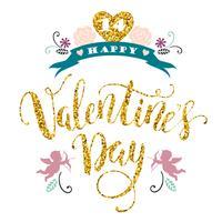 Fijne Valentijnsdag. Hand getrokken belettering van ontwerp met glitter textuur.