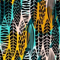 Stammen naadloos patroon met abstracte bladeren. Hand tekenen textuur. vector