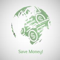 Aarde en geld vectorillustratie