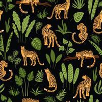 Vestor naadloos patroon met luipaarden en tropische bladeren. vector