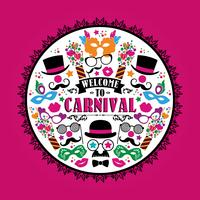 Viering feestelijke illustratie met carnaval pictogrammen en objecten