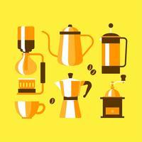 Platte koffie apparatuur elementen Clipart instellen Vector