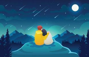 paar kijken naar meteorenregen vector
