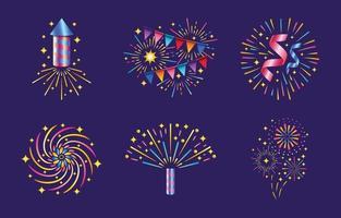 verzameling van vuurwerk en voetzoeker iconen vector