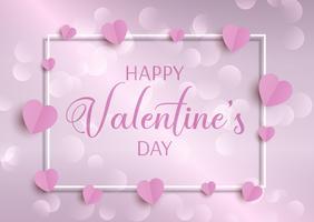 Valentijnsdag achtergrond met hartjes en frame vector