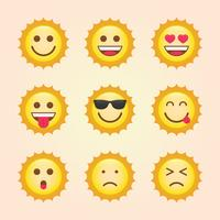 Thema-collectie Emoticon Sun vector
