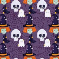 happy halloween, heks schedel spook hoed trick or treat feest viering achtergrond vector