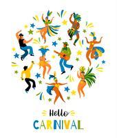 Carnaval van Brazilië. Vectorillustratie van grappige dansende mannen en vrouwen in heldere kostuums.