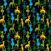 Vector naadloos patroon met dansende vrouwen.