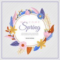 Platte kleurrijke lente bloem Vector achtergrond