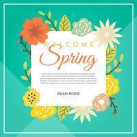 Platte moderne kleurrijke lente bloem vector achtergrond