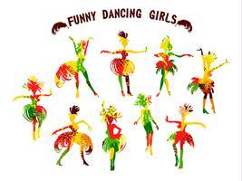 Vectorillustratie van grappige dansende meisjes in heldere Carnaval-kostuums