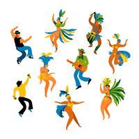 Illustratie van grappige dansende mannen en vrouwen in heldere kostuums