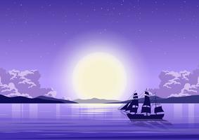 Oceaan Achtergrond 's Nachts vector