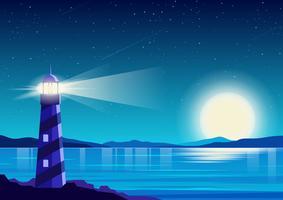 Nacht oceaan achtergrond vector