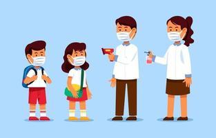 leerlingen terug naar school met gezondheidsprotocol vector