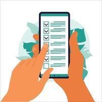 controlelijst op het smartphonescherm. online enquêteconcept. hand houdt mobiele telefoon en checklist met vinkje. vectorillustratie. vlak vector