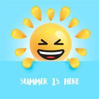 """Grappige zon-smiley met de titel """"summer is here"""""""
