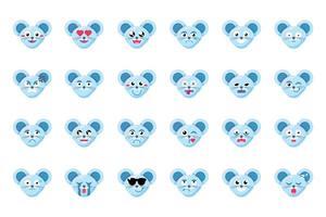 muis gezicht platte vector emoticons set