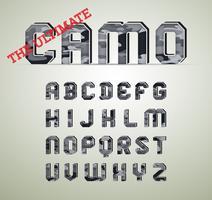 Camouflagekarakter, gedetailleerde vectorlettertypen
