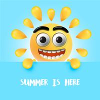 Hoogst gedetailleerde gelukkige zonnige emoticon, vectorillustratie