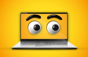 Hoog-gedetailleerde emoticonogen op het notitieboekjescherm vector