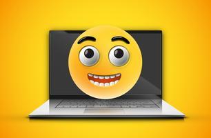 Hoog gedetailleerde emoticon op een laptopscherm vector