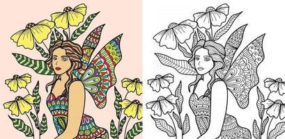 decoratieve feeëngel kleurboekpagina voor volwassenen en kinderen vector